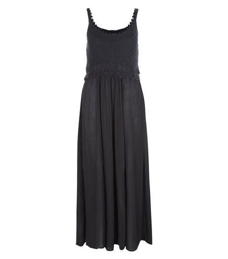 Petite Black Crochet Trim Maxi Dress | New Look