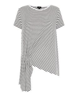 Anita and Green White Stripe Ruched Asymmetric Top | New Look