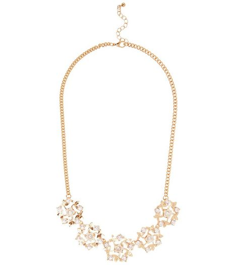 Gold Cut Out Stone Flower Necklace | New Look
