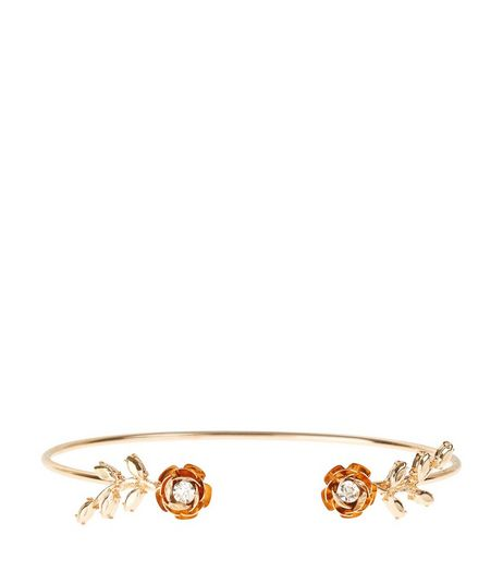 Gold Rose Leaf Arm Cuff | New Look