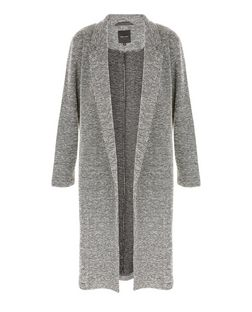 Grey Split Side Longline Coat | New Look
