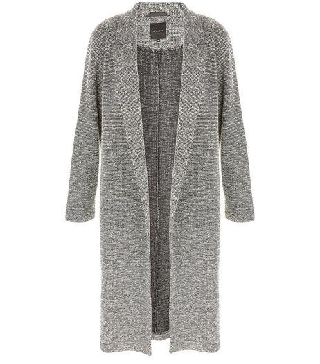 Manteau long gris fendu sur le côté | New Look