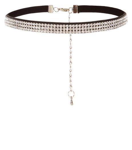 Black Diamante Embellished Choker | New Look