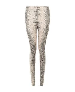 Cameo Rose Pink Snakeskin Print Leggings | New Look