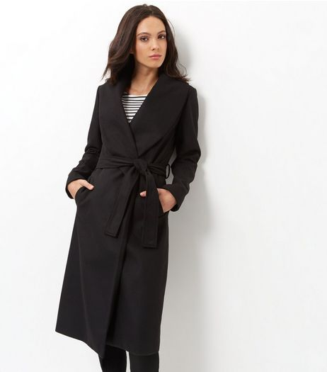Black Belted Longline Coat | New Look