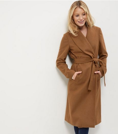 Light Brown Belted Longline Coat | New Look