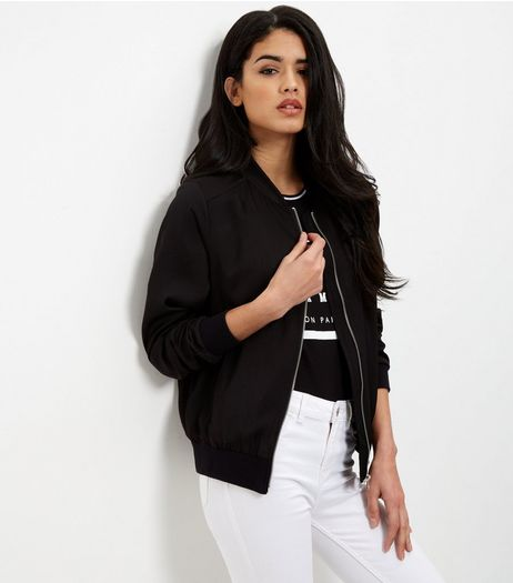 Black Sateen Bomber Jacket  | New Look