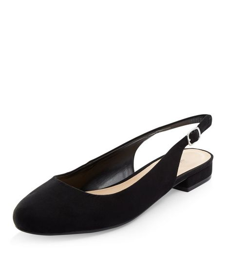 Black Suedette Sling Back Pumps  | New Look