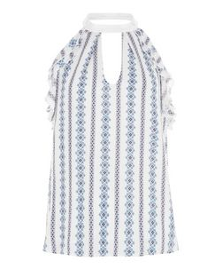 Cameo Rose Blue Stripe Tile Print Frill Top | New Look