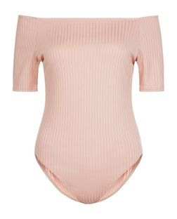 Mid Pink Ribbed Bardot Neck Bodysuit  | New Look