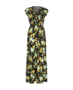 Apricot Black Floral Print Bardot Neck Maxi Dress | New Look