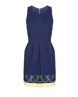 Blue Vanilla Navy Contrast Lace Trim Dress | New Look