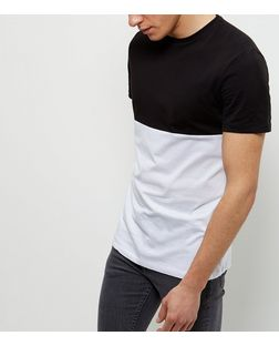 Monochrome Colour Block T-Shirt  | New Look