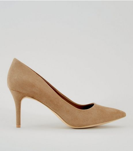 Mink Suedette Pointed Heels | New Look