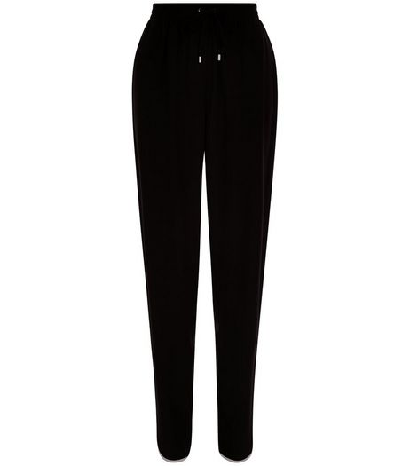 Black Contrast Curved Hem Trousers  | New Look