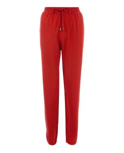 Red Contrast Curved Hem Trousers  | New Look