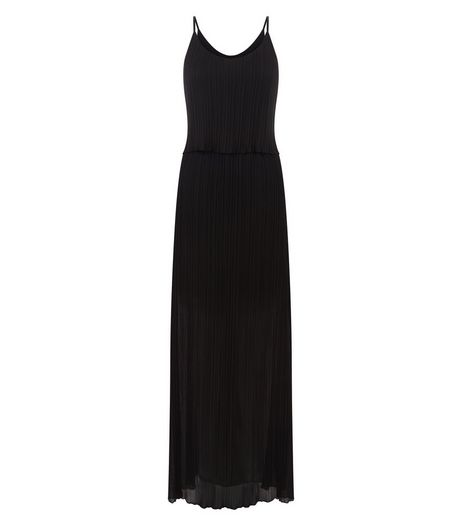 Black Pleated Strappy Maxi Dress | New Look