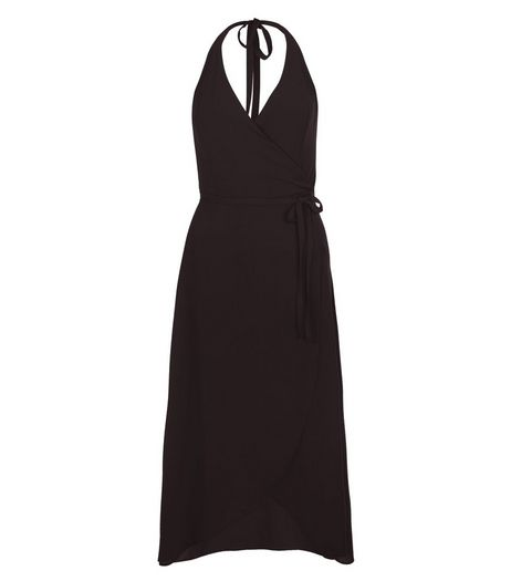 Black Wrap Crepe Halter Neck Midi Dress | New Look