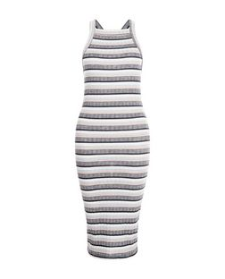 White Stripe High Neck Midi Dress  | New Look