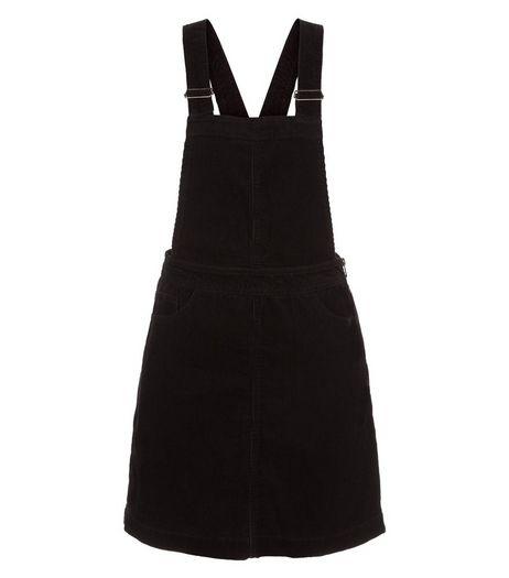 Black Cord Pinafore Dress | New Look