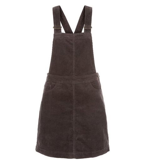 Dark Grey Cord Pinafore Dress | New Look