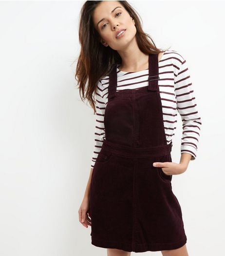 Dark Purple Cord Dungaree Pinafore Dress | New Look