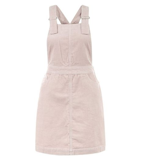 Mid Pink Cord Dungaree Pinafore Dress | New Look