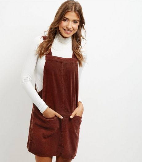Brown Cord Dungaree Pinafore Dress | New Look