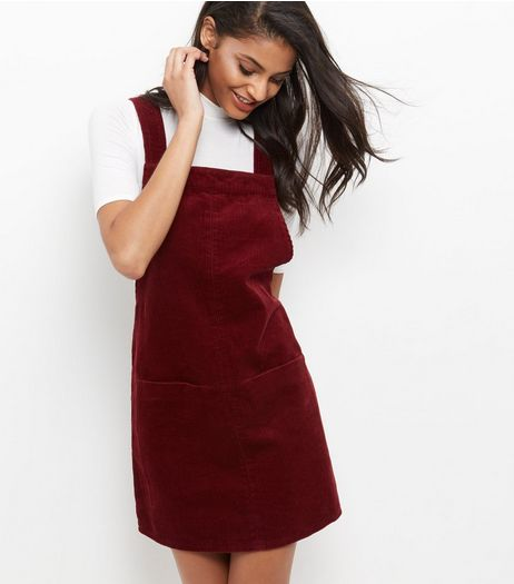 Burgundy Cord Pinafore Dress  | New Look