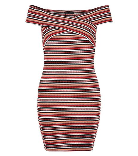 Red Stripe Twist Bardot Neck Mini Dress  | New Look