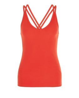 Dark Red Ribbed Cross Strap Cami | New Look