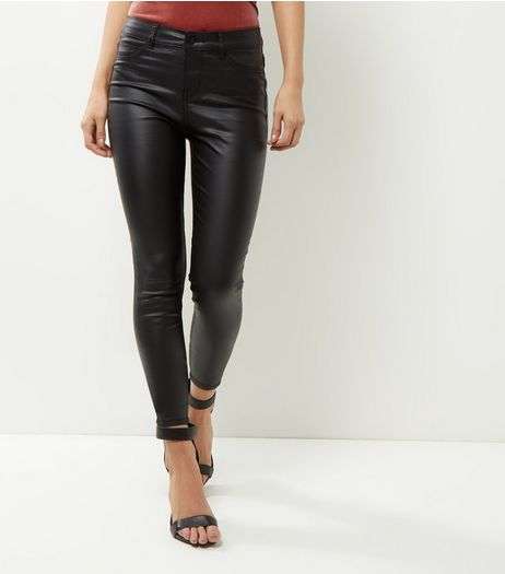 Black Coated Supersoft Super Skinny Jeans  | New Look