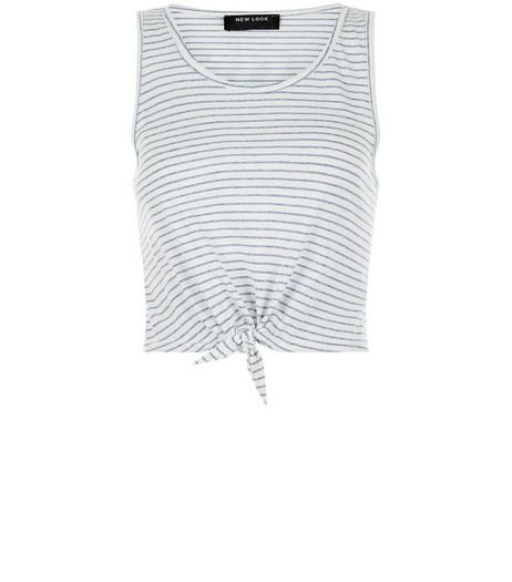 Teens White Stripe Marl Tie Front Vest | New Look