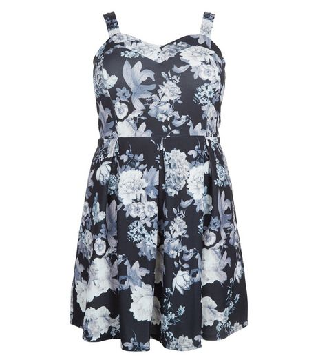 Curves Black Scuba Floral Print Skater Dress  | New Look