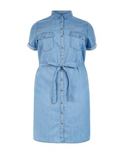 Curves Pale Blue Denim Shirt Dress | New Look