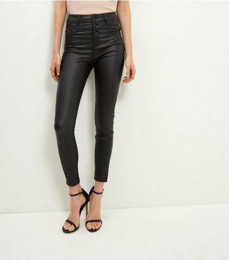Black Coated High Waisted Skinny Jeans  | New Look