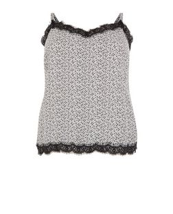 Plus White Ditsy Floral Lace Trim Cami | New Look