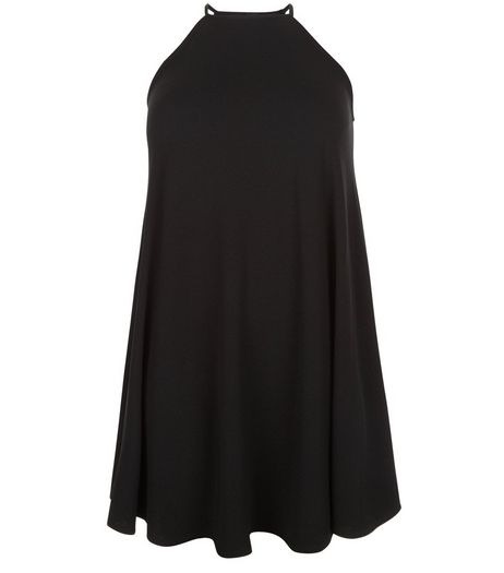 Curves Black High Neck Swing Dress | New Look