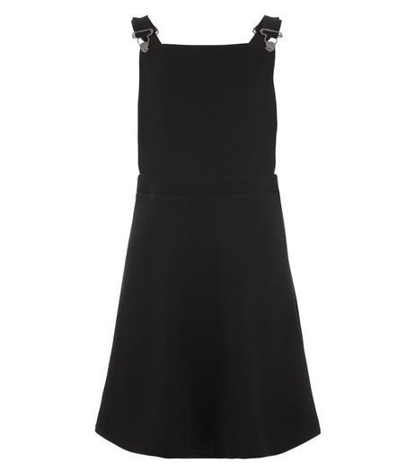 Teens Black Cross Strap Pinafore Dress | New Look