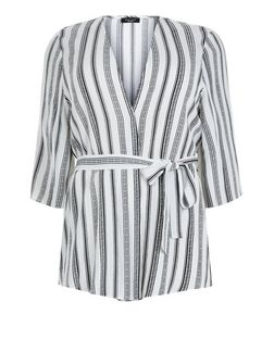 Curves White Stripe Tie Waist Kimono  | New Look