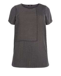 Curves White Stripe Short Sleeve T-Shirt | New Look
