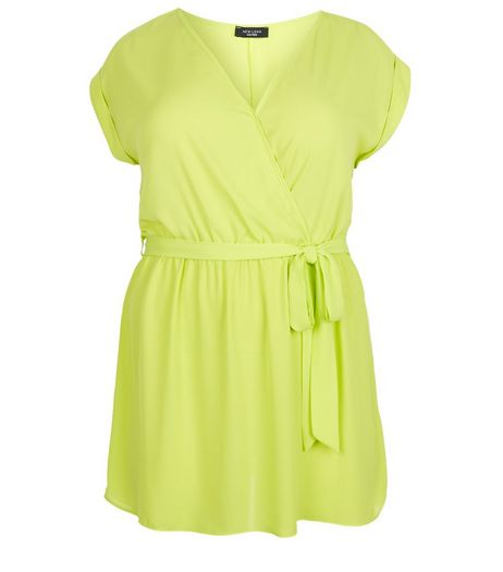 Curves Lime Wrap Front Tie Waist Tunic Top  | New Look