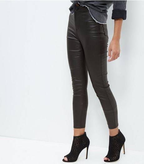 Black Coated High Waisted Super Skinny Jeans  | New Look