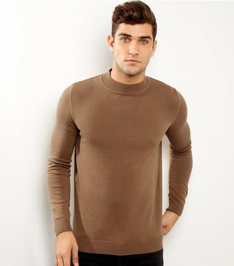 Stone Cotton Roll Neck Jumper | New Look