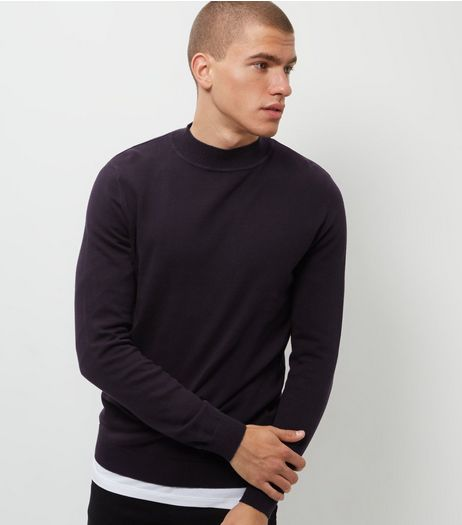 Navy Funnel Neck Jumper  | New Look