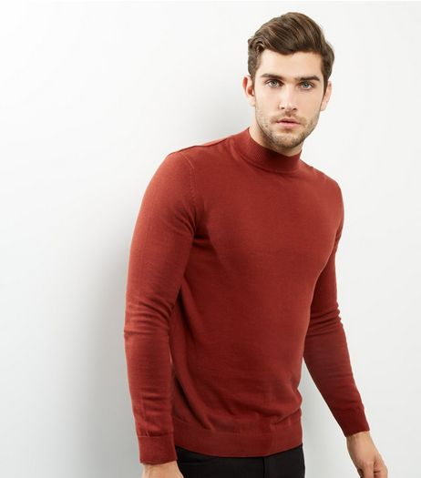 Dark Orange Long Sleeve Turtle Neck Jumper | New Look