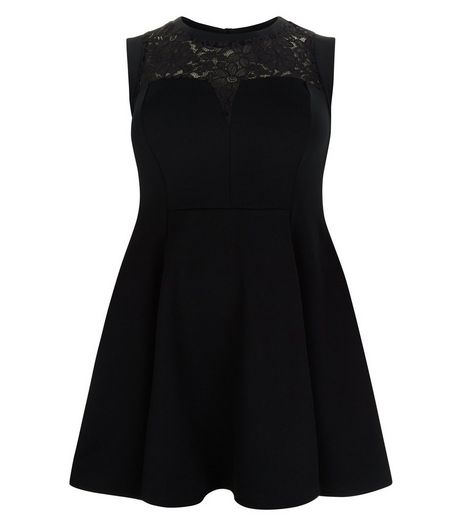 Curves Black Lace Panel Skater Dress | New Look