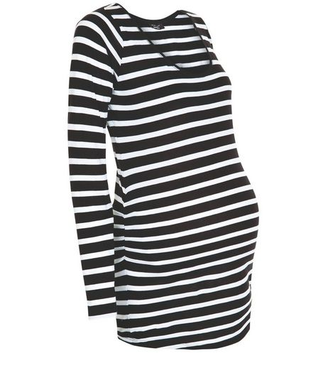 Maternity Black Stripe Long Sleeve Top | New Look