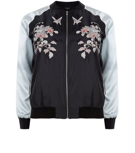 Curves Black Embroidered Contrast Sleeve Bomber Jacket | New Look