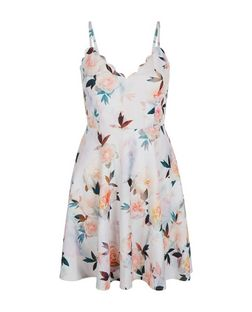 White Floral Print Scallop Trim Strappy Skater Dress  | New Look